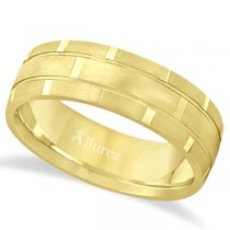 Contemporary Carved Mens Unique Wedding Ring 18k Yellow Gold (6mm)