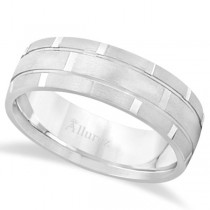 Contemporary Carved Mens Unique Wedding Ring Palladium (6mm)