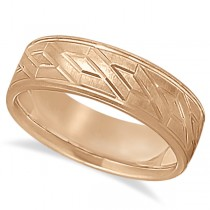 Men's Carved Unique Wedding Band in 18k Rose Gold (7mm)