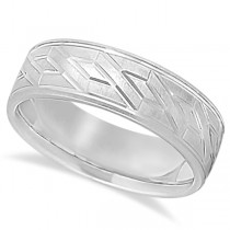 Men's Carved Unique Wedding Band in 18k White Gold (7mm)