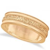 Carved Men's Wedding Ring Diamond Cut Band 14k Rose Gold (7mm)