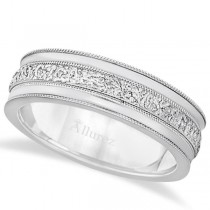 Carved Men's Wedding Ring Diamond Cut Band 18k White Gold (7 mm)