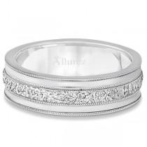 Carved Men's Wedding Ring Diamond Cut Band in Palladium (7 mm)