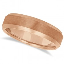 Satin Finish Carved Comfort-Fit Wedding Ring Band 14k Rose Gold (6mm)