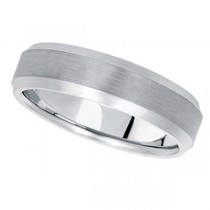 Comfort-Fit Carved Wedding Band in 18k White Gold (6mm)