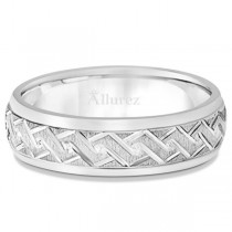 Men's Fancy Carved Comfort-Fit Wedding Band 14k White Gold (5mm)