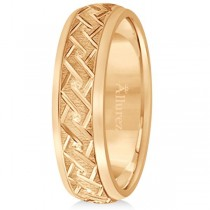 Men's Fancy Carved Comfort-Fit Wedding Band 18k Rose Gold (5mm)