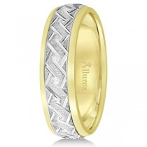 Men's Carved Two-Tone Wedding Band 18k  (5mm)