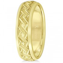 Men's Fancy Carved Comfort-Fit Wedding Band 18k Yellow Gold (5mm)