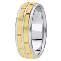 Men's Carved 18k Two-Tone Wedding Band (7mm)