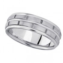 Men's Diamond Cut Carved Platinum Wedding Band (7mm)