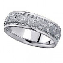 Men's Fancy Carved Wedding Band in 18k White Gold (7mm)