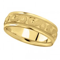 Men's Fancy Carved Wedding Band in 18k Yellow Gold (7mm)