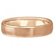 Men's Ridged Wedding Ring Band Satin Finish 14k Rose Gold (5mm)