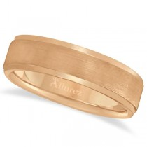 Men's Ridged Wedding Ring Band Satin Finish 14k Rose Gold (7mm)
