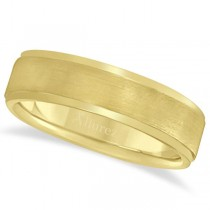 Men's Ridged Wedding Ring Band Satin Finish 14k Yellow Gold (7mm)