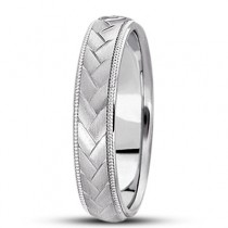 Braided Men's Wedding Ring Diamond Cut Band 18k White Gold (5 mm)