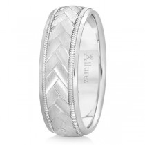 Braided Men's Wedding Ring Diamond Cut Band 14k White Gold (7 mm)