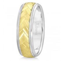 Braided Men's Wedding Ring Diamond Cut Band 14k Two Tone Gold (7 mm)