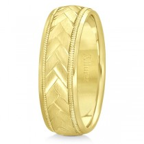Braided Men's Wedding Ring Diamond Cut Band 18k Yellow Gold (7 mm)