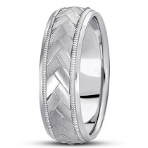 Braided Men's Wedding Ring Diamond Cut Band in Palladium (7 mm)