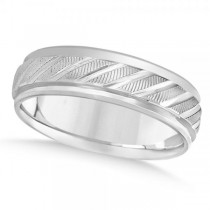 Diamond-Cut Carved Wedding Band Plain Metal 14k White Gold 7mm