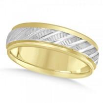 Diamond-Cut Carved Wedding Band Plain Metal 14k Two Tone Gold 7mm