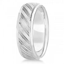 Diamond-Cut Carved Wedding Band Plain Metal 14k White Gold 7mm