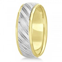 Diamond-Cut Carved Wedding Band Plain Metal 14k Two Tone Gold 7mm