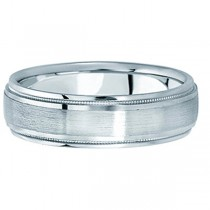 Carved Wedding Band in 14k White Gold For Men (5mm)