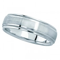 Carved Wedding Band in 18k White Gold For Men (5mm)