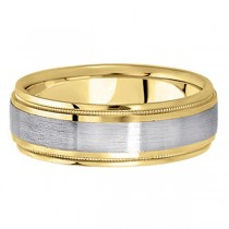 Carved Two-Tone Wedding Band in 18k (7mm)