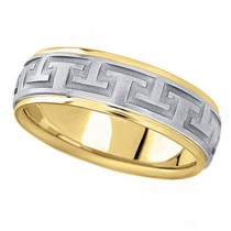 Men's Carved Two-Tone Wedding Band in 14k White & Yellow Gold (7mm)