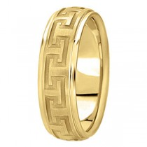Men's Diamond Cut Carved Wedding Band in 14k Yellow Gold (7mm)