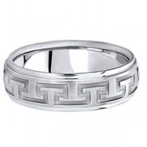 Men's Diamond Cut Carved Platinum Wedding Band (7mm)