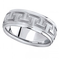 Men's Diamond-Cut Carved Wedding Band in 18k White Gold (9mm)