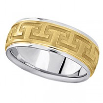 Men's Carved 18k Two-Tone Wedding Band (9mm)