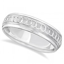 Infinity Wedding Ring For Men Fancy Carved 18k White Gold (5mm)