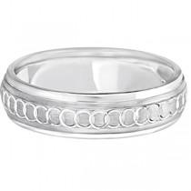 Infinity Wedding Ring For Men Fancy Carved 18k White Gold (5mm)