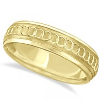 Infinity Wedding Ring For Men Fancy Carved 18k Yellow Gold (5mm)