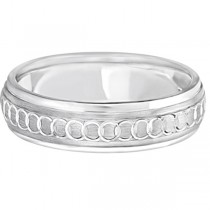 Infinity Wedding Band For Men Fancy Carved Palladium (5mm)