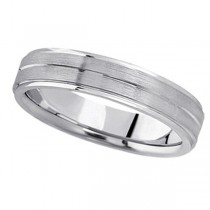 Carved Wedding Band in Platinum For Men (5mm)