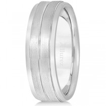 Carved Wedding Band in 18k White Gold For Men (7mm)