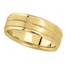 Carved Wedding Ring Band in 18k Yellow Gold For Men (7mm)