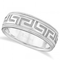 Men's Greek Key Wedding Ring with Milgrain Edges 14k White Gold (7mm)