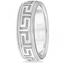 Men's Greek Key Wedding Ring with Milgrain Edges 14k White Gold (7mm)