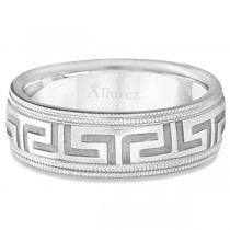 Men's Greek Key Wedding Ring with Milgrain Edges Platinum (7mm)