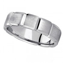 Diamond Carved Wedding Band For Men in 14k White Gold (6mm)