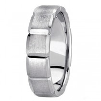 Diamond Carved Wedding Band For Men in Palladium (6mm)