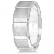 Diamond Carved Wedding Band For Men in 18k White Gold (8mm)